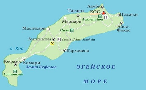 Отдых на островах Греции, географическая карта острова Кос
