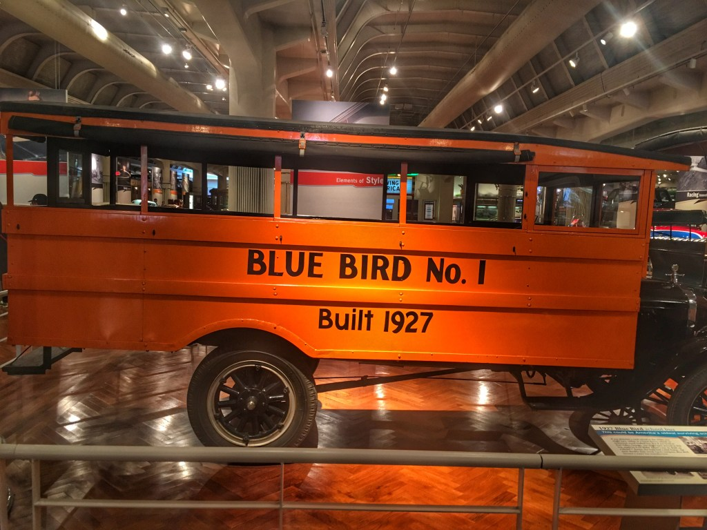Early Blue Bird school bus at the Henry Ford Museum