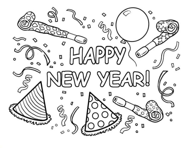 Free Printable Happy New Year Coloring Pages 28