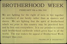 Brotherhood Week - When is national brotherhood week?