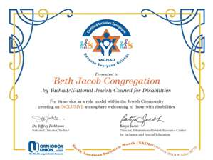 Yachad Presents Inclusive Synagogue Award Nationally for Inclusion ...