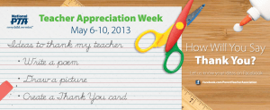 PTA Teacher Appreciation Week - Teacher Appreciation Week activities?