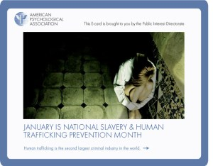 National Slavery and Human Trafficking Prevention  - January is National Slavery