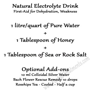 Natural Electrolyte Solution - First Aid for a weak or dehydrated person, cat, dog, or horse