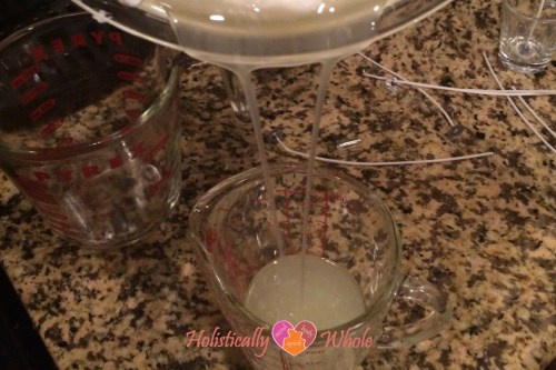 pour wax into measuring cup