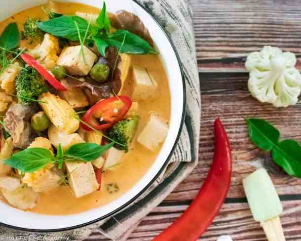 Vegan Thai red curry with mixed vegetables and mushrooms