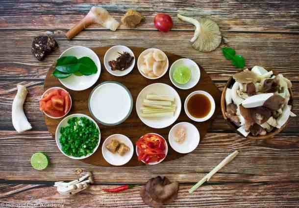 The ingredients laid out for making Thai vegan tom yum soup