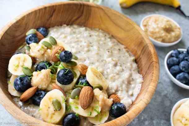 close up of quinoa, oat and chia porridge