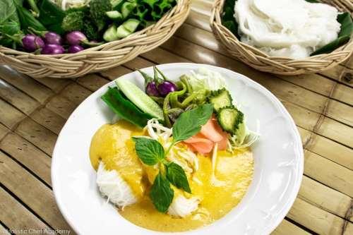 kanom jeen thai vegan noodle dish