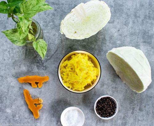 turmeric sauerkraut with raw ingredients