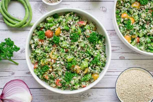 quinoa tabbouleh served in a bowl ready to eat