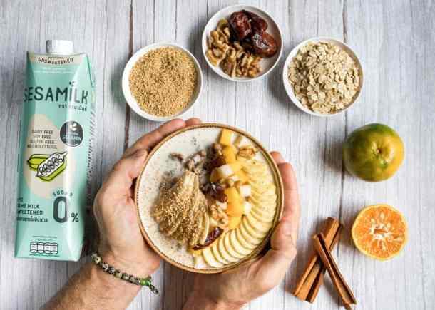 sesame-milk-healthy-breakfast-bowl