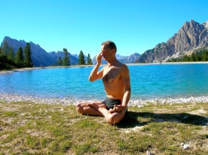 man practicing pranayama