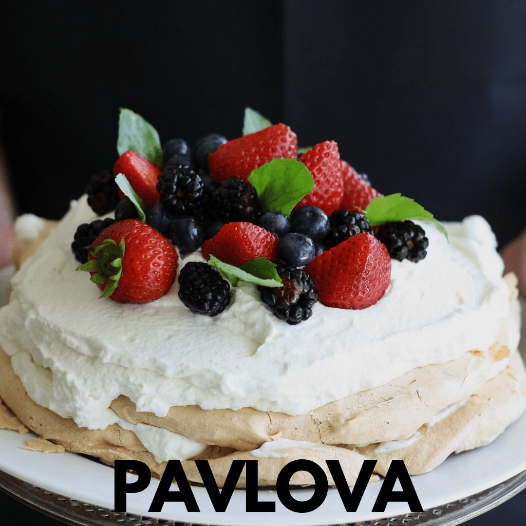 pavlove cake with mascarpone and fresh fruits