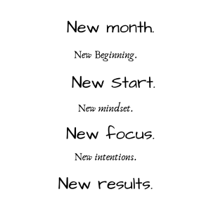 new month, new goals