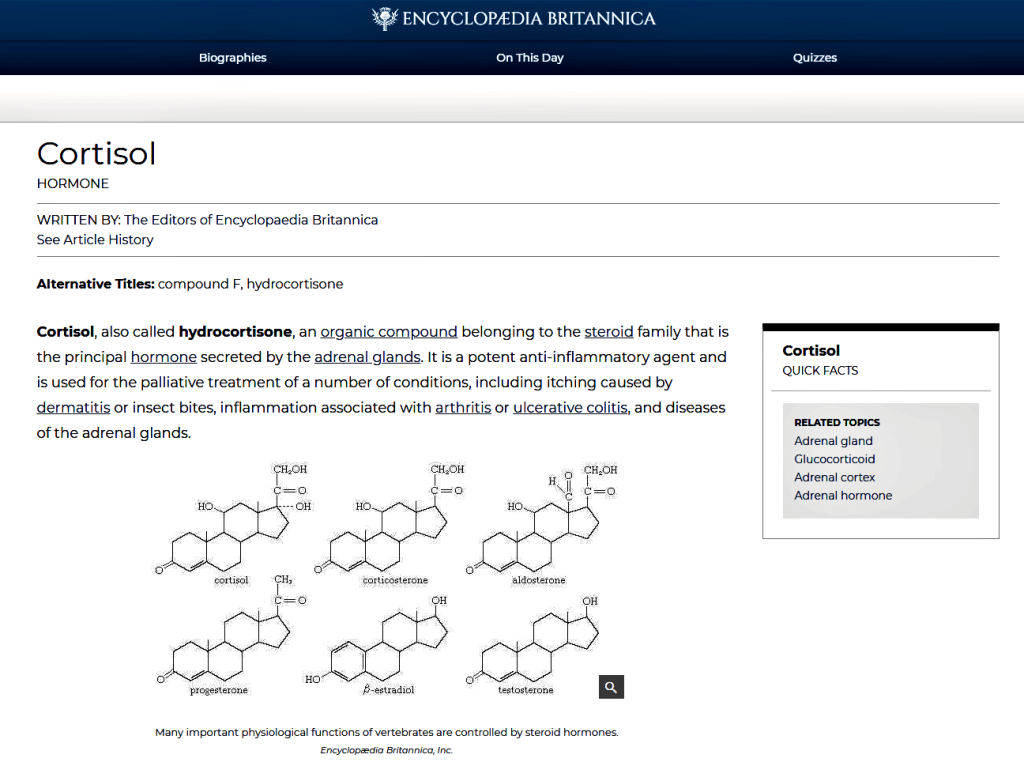 https://www.britannica.com/science/cortisol