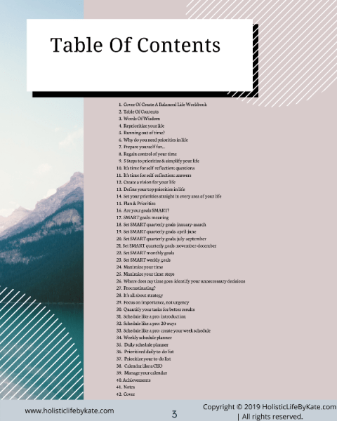 Prioritize Your Life - table of contents