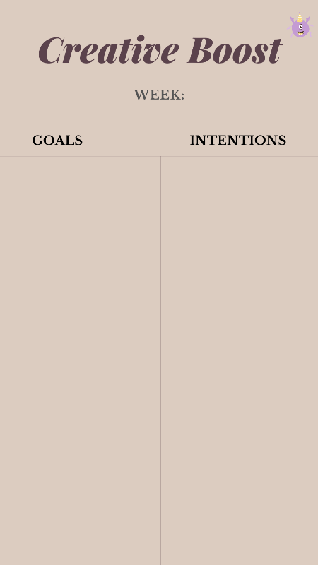 weekly creativity boost goals and intentions