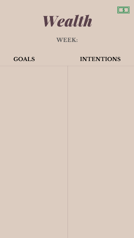 set your weekly wealth goals and intentions