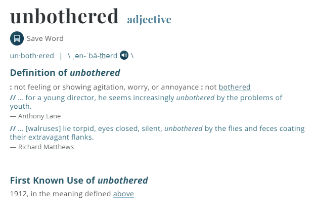 www.merriam-webster.comdictionaryunbothered