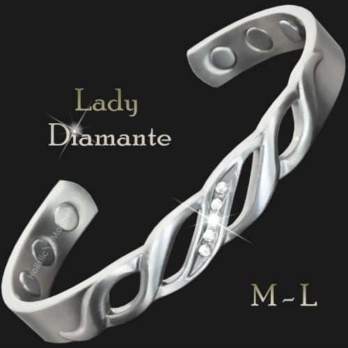 Ladies Magnetic Pain Relief Bracelet Copper Bracelet for Arthritis Silver Toned with Zirconia Stones – Lady Diamante