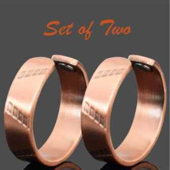 Healing Copper Rings for Men Women Copper Rings for Arthritis Copper Finger Rings with Open Back Copper Magnetic Therapy Band SET of TWO - PR
