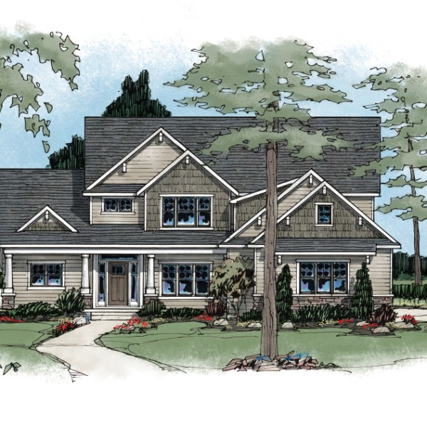 Enhanced Color Elevation of Model Home Rendering