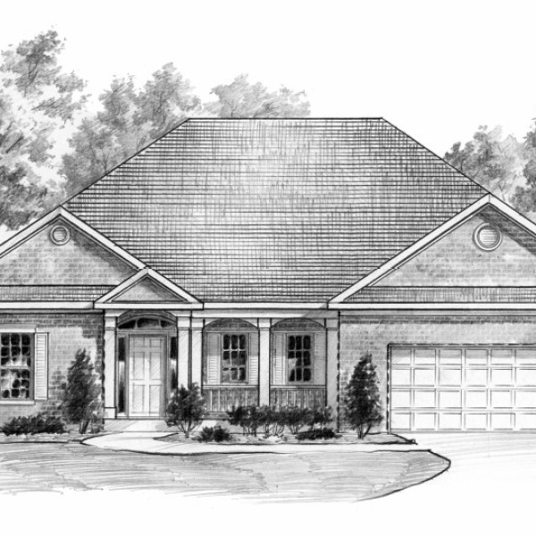 Pencil Rendering of Model Home