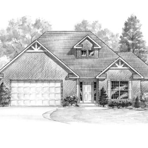 Stylized Graphite Illustration of Model Home