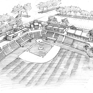 Aerial View Sketch for Baseball Stadium Proposal