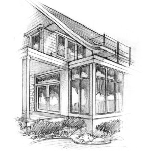 Graphite Concept Sketch of Lake House Detail