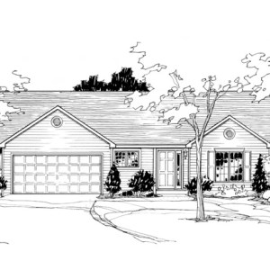 Line Drawing of Front Elevation