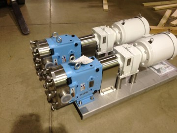 Waukesha U1 Pumps mounted on Stainless Steel Channel Bases