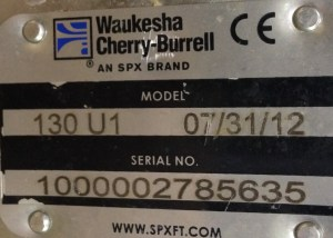 The Nameplate on the Waukesha Pump Shows the Model and Serial Number