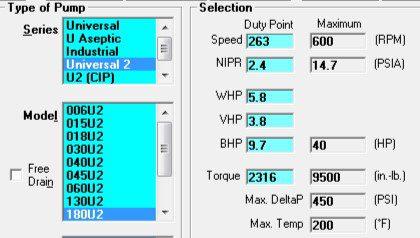 Waukesha Universal Pump Sizing Programs Showing Horsepower Requirements