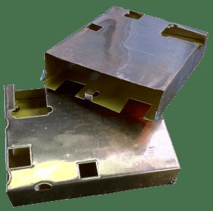 Mu-copper foil bent shape electronic enclosures