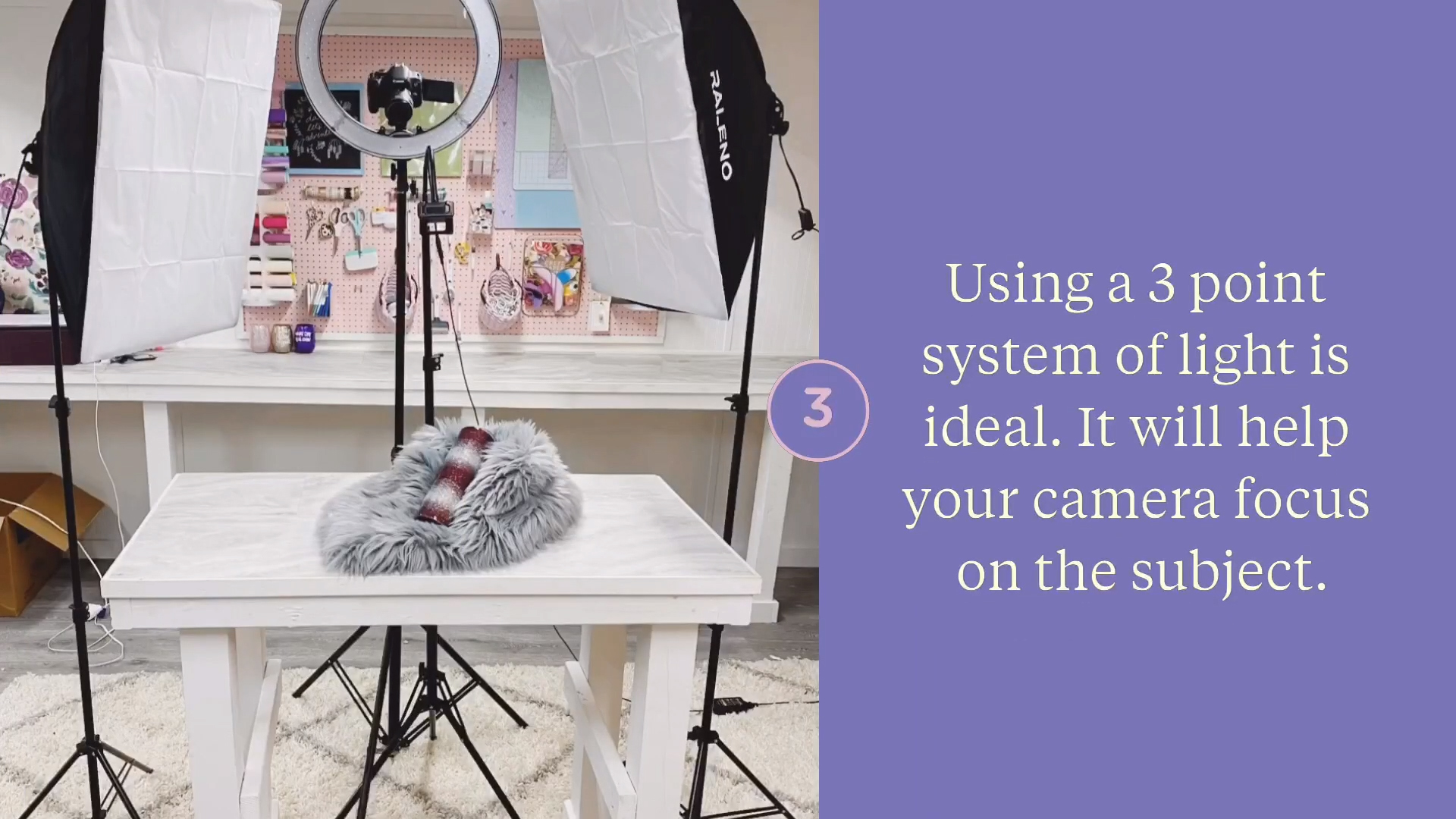 Use a three point lighting system beginner lighting tips for photo and video