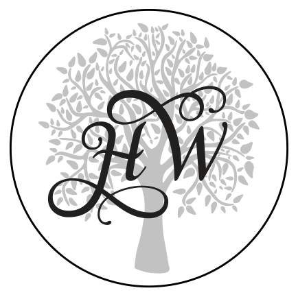 HW, Hollows Weddings circular logo with tree background