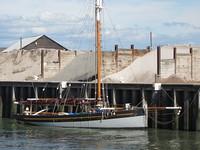 Pretty wooden boat in the harbor