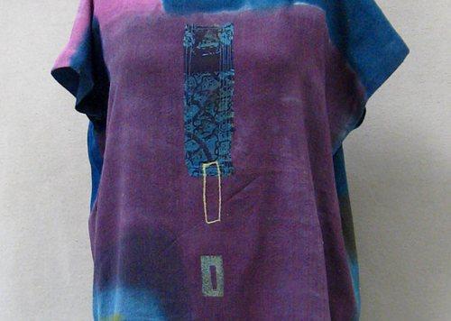 Cecille's Plum Silk Gauze Colorblock Top