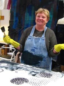 Sharon printing her wool