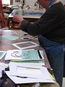 Sharon making silk screens