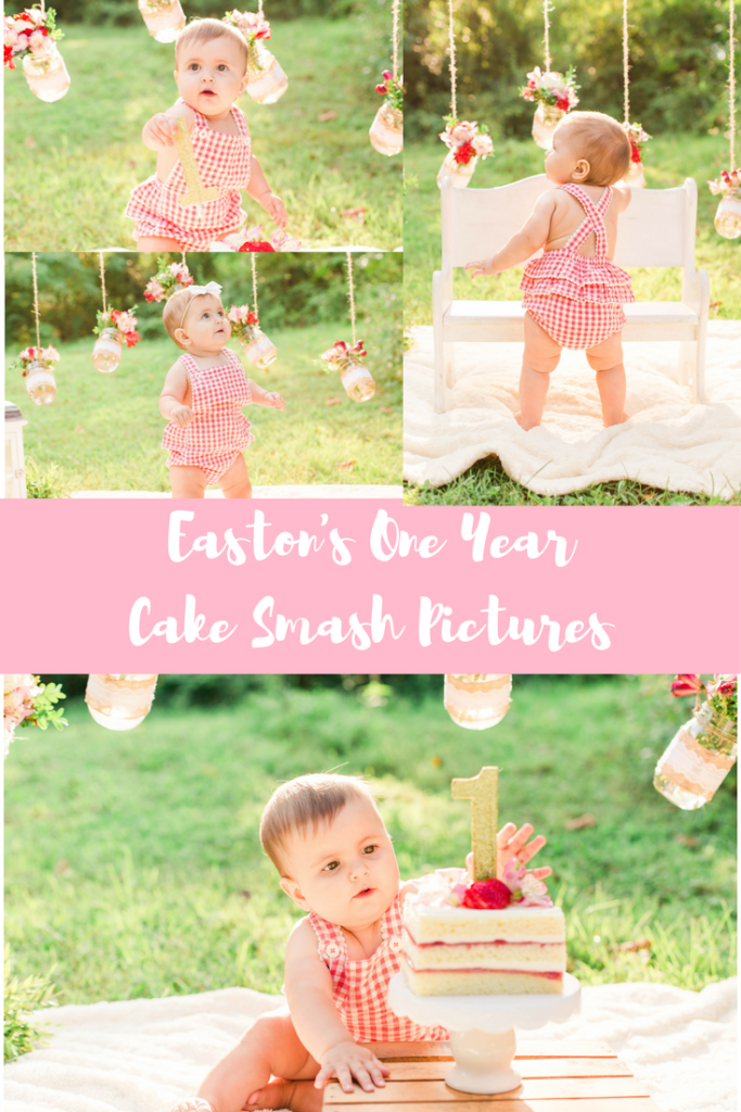 baby girl outdoor pink mason jars One Year Cake Smash Pictures