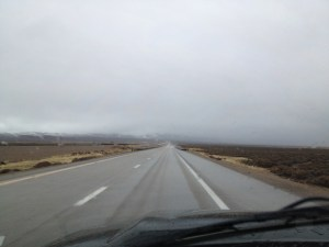 Heading back to SLC - there is snow in those hills!  PeQuop Pass was a little scary!