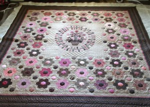 Pink and Brown Civil War Reproduction fabrics with a sweet medallion.