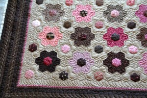 Inspiration for the hexagon quilting was found on Pinterest - see Geta's Quilt Studio and Buttontree Lane .