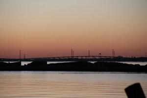Sunrise coming behind the Kemah, TX bridge