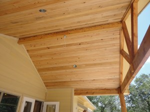 And we have a cedar ceiling on the back porch (the great room will also have a cedar ceiling!)