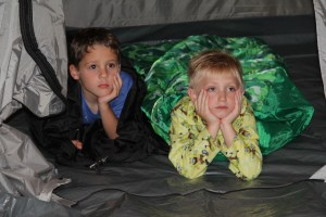 And the boys had a small tent that we also set up indoors.