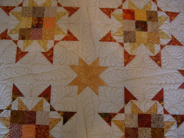 Close up of the quilting and the sashing!